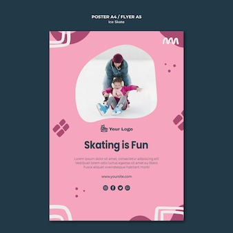 Ice skate poster template theme