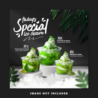 Icecream menu social media post banner instagram template for promotion