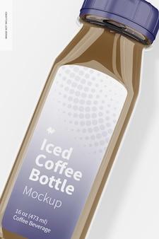 アイスコーヒーガラス瓶のモックアップ、クローズアップ