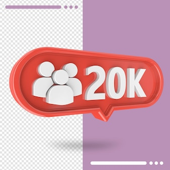 Icon 3d instagram 20k followers isolated