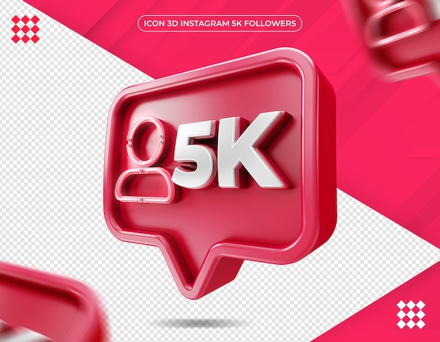 Icon 3d instagram 5k isolated