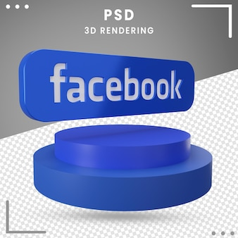 Icon 3d rotated logo facebook isolated in 3d rendering