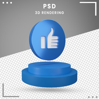 Icon 3d rotated logo like facebook 3d rendering