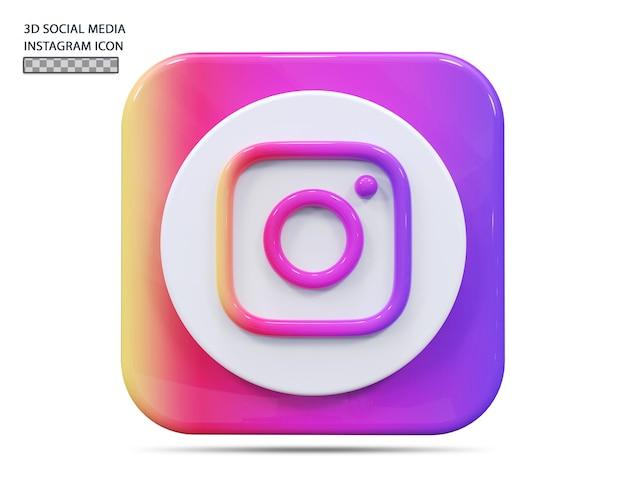 Значок instagram 3d визуализации концепции