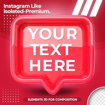 Значок instagram изолированные в 3d визуализации проектирования