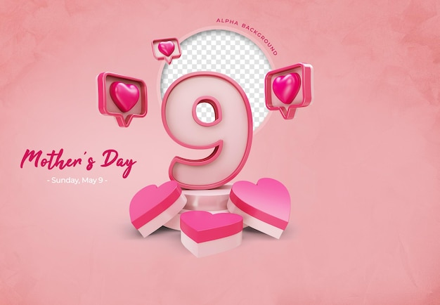 Icon mom mothers day and heart 3d rendering