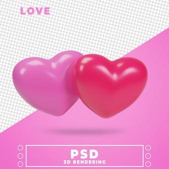 3dレンダリングデザインレンダリングにおける愛のアイコン