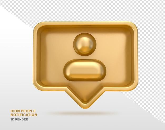 Значок люди золотой 3d рендеринг изолированные социальные медиа