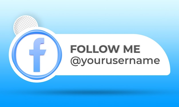 Icon profile on facebook banner follow me 3d rendering label