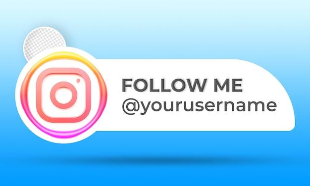 Instagramバナーのアイコンプロフィールフォローミー3dレンダリングラベル