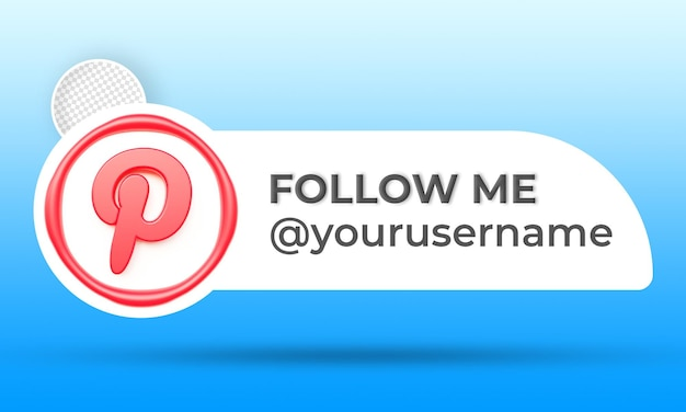 Icon profile on pinterest banner follow me 3d rendering label
