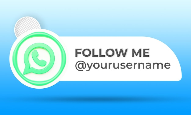 Icon profile on whatsapp banner follow me 3d rendering label