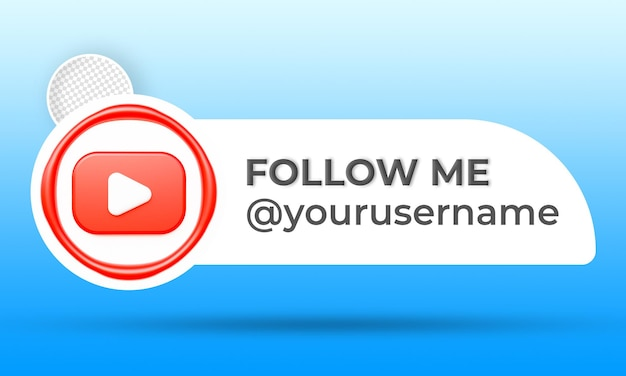 Icon profile on youtube banner follow me 3d rendering label