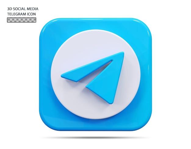 Значок telegram 3d визуализации концепции