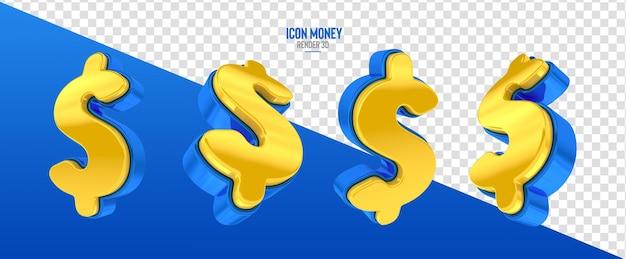 現実的な3dレンダリングでお金のシンボルとアイコン
