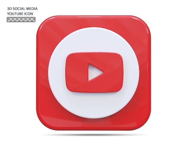 Значок youtube 3d визуализации концепции