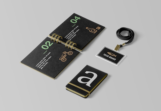 Id card holder and notebook mockups
