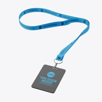 Id card and lanyard mockup isolated