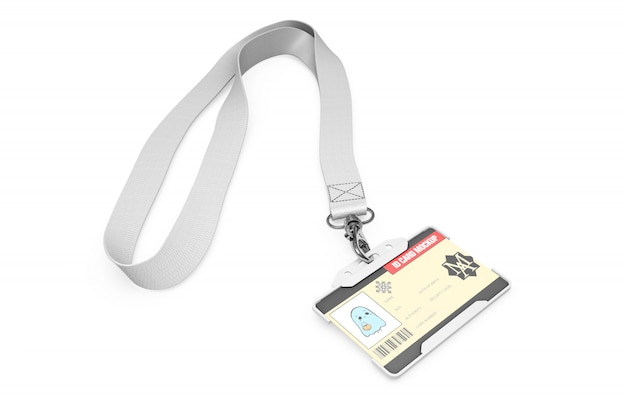 Id card mockup on necklace