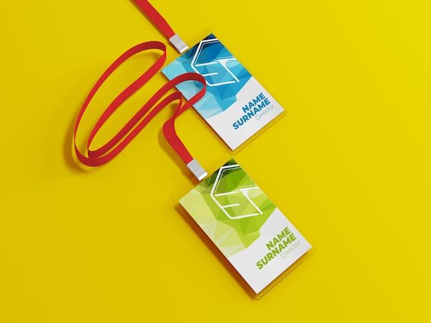 Id card mockup with lanyard