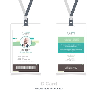 Id card mockup with ribbon