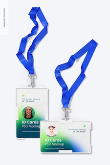 Id cards with lanyard mockup