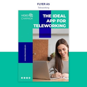 The ideal app for teleworking flyer template
