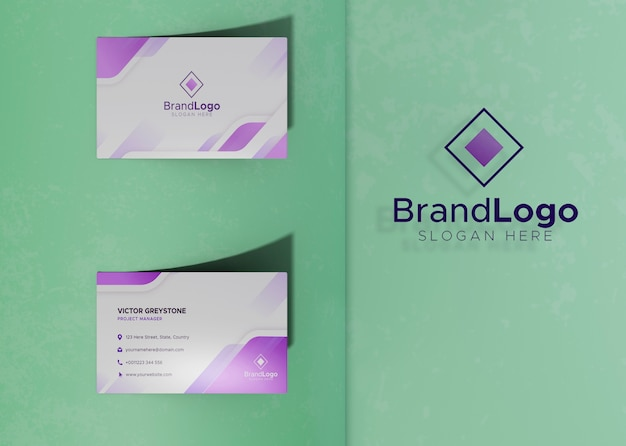 Identity logo business card mock-up paper