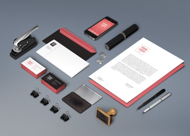 Identity mockup with stationery items