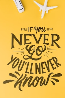 If you never go, you'll never know, lettering for travel concept
