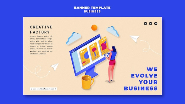 Illustrated business banner template