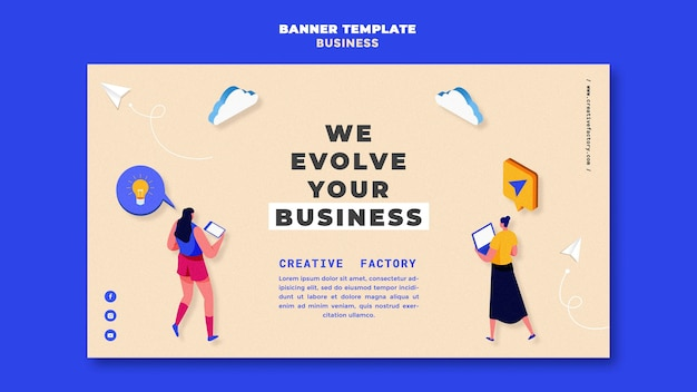 Modello di banner aziendale illustrato