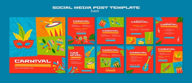 Illustrated carnival instagram posts template