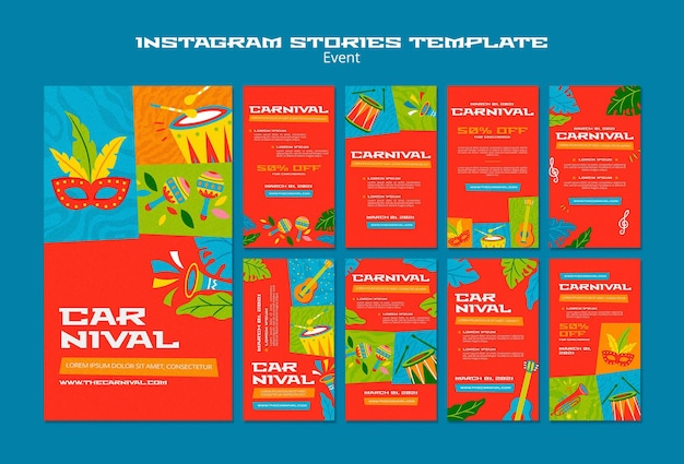 Illustrated carnival instagram stories template