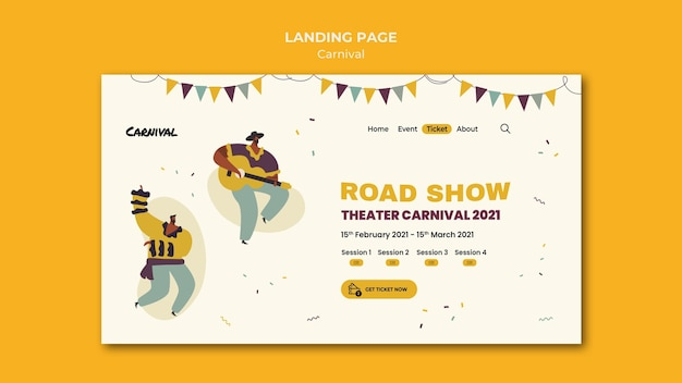 Illustrated carnival landing page template