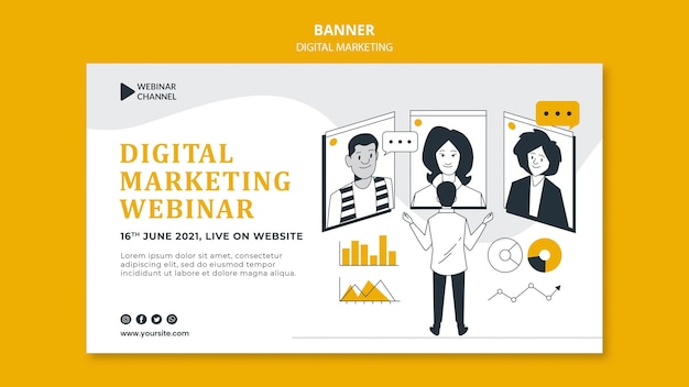 Illustrated digital marketing banner template Free Psd