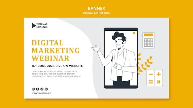 Illustrated digital marketing banner template