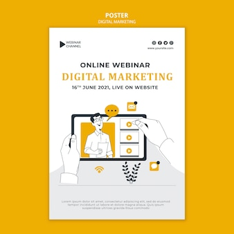 Иллюстрированный шаблон для печати цифрового маркетинга