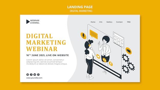 Illustrated digital marketing web template