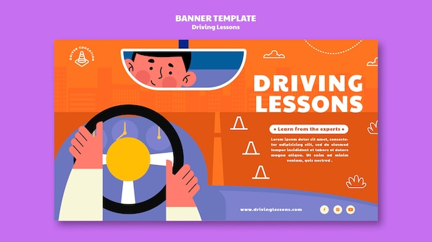 Illustrated driving school banner template