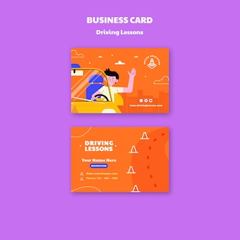 Illustrated driving school business card