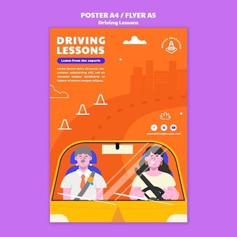 Illustrated driving school print template Premium Psd