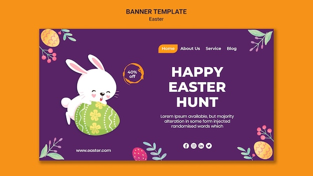 Illustrated easter event banner template