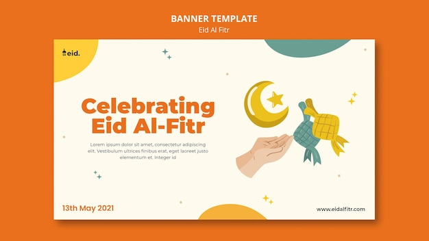 Illustrated eid al-fitr banner template