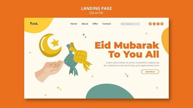 Illustrated eid al-fitr landing page template
