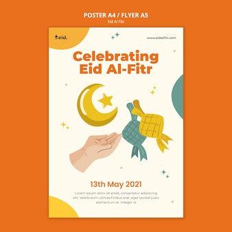 Illustrated eid al-fitr print template