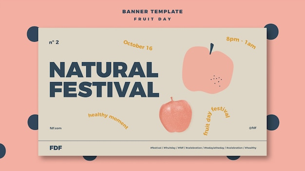 Illustrated fruit day banner template