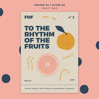 Illustrated fruit day flyer template