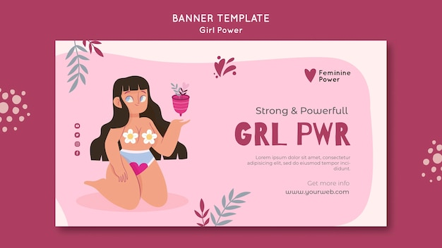 Illustrated girl power banner template