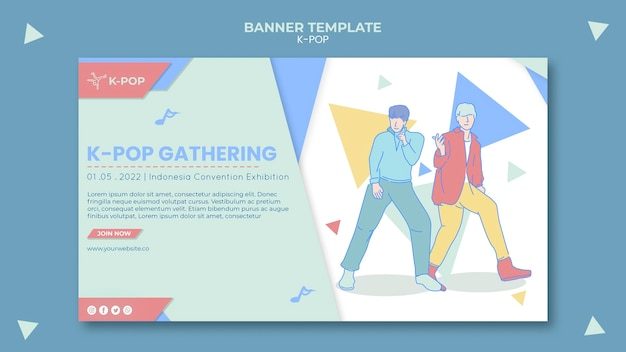 Illustrated k-pop banner template